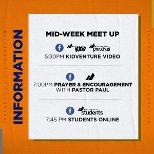 MID-WEEK MEET UP SCHEDULE