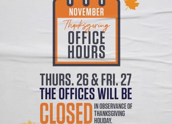 NOV 26 & 27TH // CHURCH OFFICES CLOSED